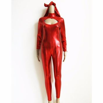 Women Vinyl Leather Jumpsuit Fashion Devil Cosplay Costume Adult Clubwear Halloween Costume W205031