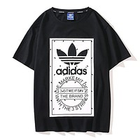 Adidas Summer New Fashion Letter Leaf Print Women Men Top T-Shirt Black