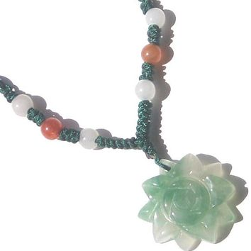 Lucky Charm Flower - Jade Necklace