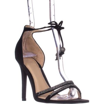 Guess Peri Tie Up Ankle Strap Heeled Sandals, Black, 11 US