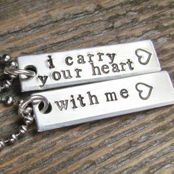 Set of 2 Necklaces I Carry Your Heart With Me Hand Stamped Jewelry Friends Couples Charm Aluminum Tag Stainless Steel Chain
