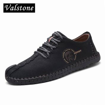 2018 Summer Leather Casual Shoes Men handmade vintage shoes lace-up Hot Sale Moccasins