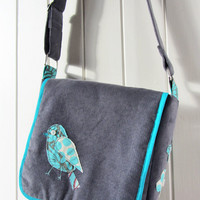 Applique bird messenger bag, grey corduroy with teal blue bird and pretty contrasting patterned lining