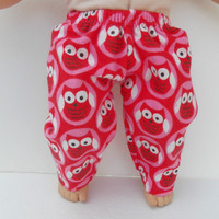"American Girl Bitty Baby Clothes 15"" Doll Clothes Red Pink White Owl Flannel Pants or Pj Pants Christmas Winter Fall Autumn Fashion"