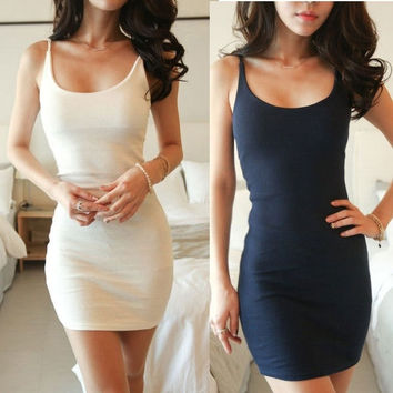 New Women's Fashion Basic Solid Strap Mini Sexy Dress women casual party dress #L034985 = 5710261697
