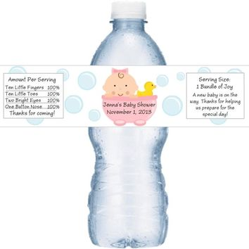 21 Baby Shower Water Bottle Labels Pink
