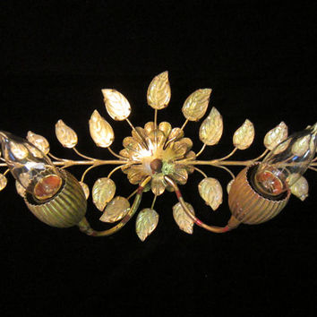 Vintage Italian Gold Brass Tole and Glass Leaf Light Sconce and Wall Art