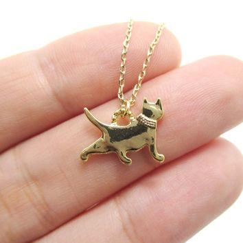 Kitty Cat Silhouette Shaped Charm Necklace in Gold | DOTOLY