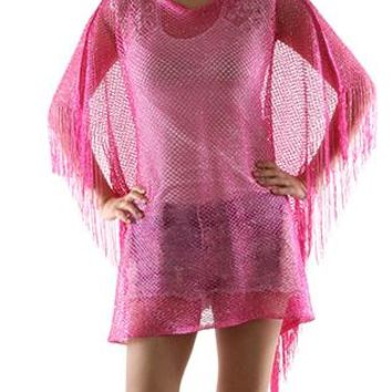 Scarf Crochet Mesh Cover Up Poncho Fringe