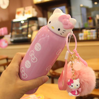 2016 NEW Creative Hello Kitty Thermos Stainless Steel Vacuum Flask Cup For Office Lady And Children,KT Cat Belly Cup Thermal Mug