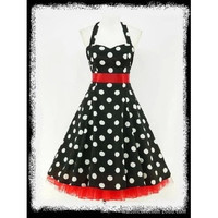New vintage accessory women's 50's retro style classsic polka dot print pin up rockabilly dress full circle ball gown party dress black/yellow