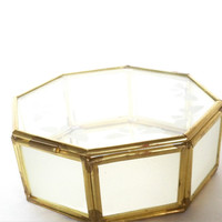 Geometric Glass Box ~ Vintage Glass Jewelry Box ~ Octagonal Glass Jewelry Box ~ Geometric Glass Terrarium ~ Etched Butterfly Glass ~ Taiwan