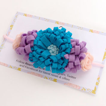 Toddler flower crown - large blue flower - blue floral crown - summer headband - summer hair bows - flower hair garland - flower hair wreath