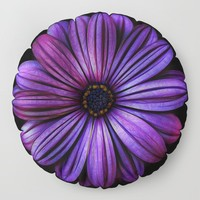 Bloom In Purple Floor Pillow by inspiredimages