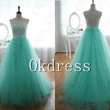 2014 High Quality White Lace Long Prom Dress,Emerald Tulle High Neck Prom Gown,A Line Floor Length Evening Dress,Evening Gown,Wedding Gown