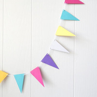 Colorful Triangle Garland / Party Bunting / Nursery Bunting / Party Decor / Photo Prop MADE TO ORDER 10 ft