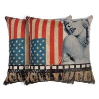 ZLYC 18 x 18 Inch Marilyn Monroe Portrait Print Fashion Decorative Cotton Linen Square Throw Pillow Case Cushion Cover, Set of Two, US Flag