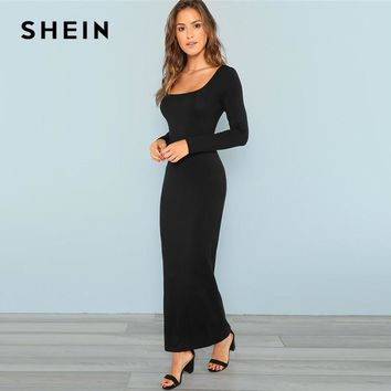 Maxi Square Neck Fitted Maxi Dress Long Sleeve Stretchy Elegant Dress