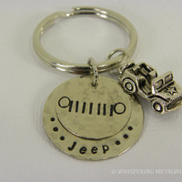 Jeep grill  keychain hand stamped silver with jeep charm
