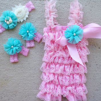 Light Pink and Aqua Lace Romper Outfit, Headband, Barefoot Sandals and Clip - Newborns to Toddlers - 1st Birthday Outfit - Ruffle Romper