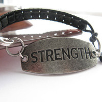 Stamped Metal and Leather Bracelet, Picasso Tile Beads, Black leather, Silver