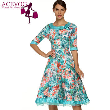 ACEVOG Women Elegant Dress Half Sleeve Floral Lace Vintage Summer Midi 1950's Dress Vestidos Feminino Plus Size Women Clothing