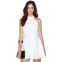 Casual Halter Neck Strappy Back Flounce Mini Dress