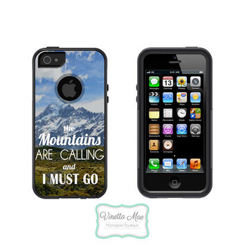 Otterbox Commuter Apple iPhone 5 5s Personalized Cell Phone Hard Case The Mountains Are Calling & I Must Go Landscape Camping Hiking OB-1040