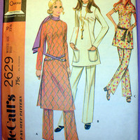 Retro 1970's Misses' Top in Three Versions and Pants Size 10 Vintage McCall's 2629 Sewing Pattern