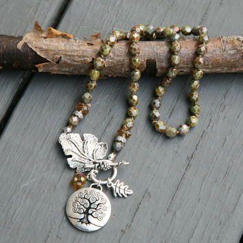 Earth Tone Knotted Czech Glass Tree of Life Pendant Dangling Charm Front Closure Necklace