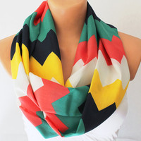 Infinity Scarf Loop Scarf Circle Scarf Cowl Scarf Soft and Lightweight Zigzag Chevron Print Red Green Yellow