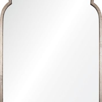 Quick Overview:Antiqued Silver Leaf Iron Moroccan Mirror