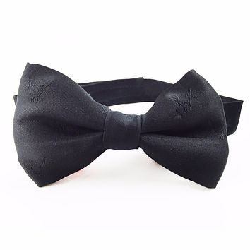 Masonic Bow Tie with Compass and Square Black