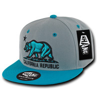 California Republic State Bear Flag Snapback Hat Teal Grey