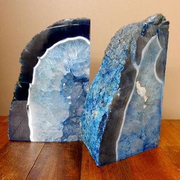 Book End - Large Agate Book Ends - Beautiful Bue Dyed Half Geode Druzy Bookend Rock Formation - Amazing Book End (RK29-16)