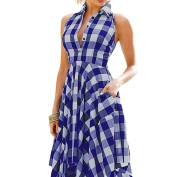 Blue White Denim Checks Flared Shirtdress