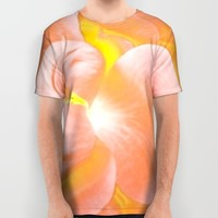 The Light Inside Flower Abstract in Peachy Pink All Over Print Shirt by Jen Warmuth Art And Design