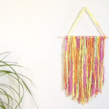 Yarn Wall Hanging Boho Wall Decor Bohemian Wall Art Yarn Art Fiber Art Textile Art Nursery Wall Hanging Nursery Decor Crib Mobile