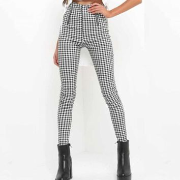 Womens High Waisted Pants 2019 Spring Autumn Elegant Ladie OL Trousers For Women Grey Plaid Stretchy Pencil Pants