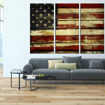 US Flag Canvas Print wall art, extra large wall art, old flag wall art, US Flag textured wall art contemporary wall decor t104