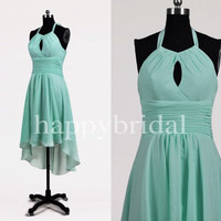 Short Mint Bridesmaid Dresses Halter Prom Dresses Party Dresses Evening Dresses 2014 Wedding Events