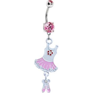Pink Cubic Zirconia Tutu Ballerina Belly Ring