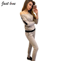 2 Piece Clothing Set Casual Sportswear Women Top and Pant Women Tracksuit Patchwork Color Hoodie Set