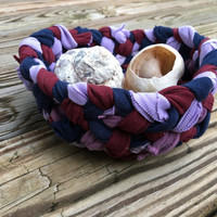 Small Fabric Bowl with blues and purples, Braided Ragrug bowl, country home decor, Rustic Home, Hostess Gift, Housewarming, Bridal Shower