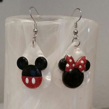 Guitar Pick Earrings - Betsy's Jewelry - Mickey & Minnie Mouse Style, Disney Characters