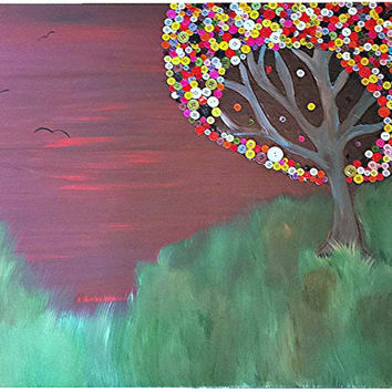 Sunset Canvas Painting with Tree of Buttons 24 x30 (Nature, Sunset, Abstract Artwork)