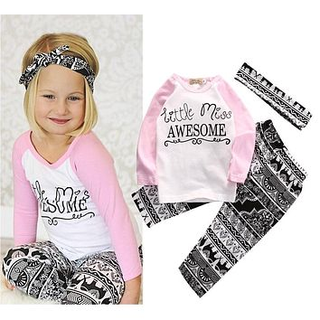 Boutique Kids Baby Girls Top T-shirt Pants Leggings Headband 3PCS Outfits  Toddler Kids Clothes accc8e10d