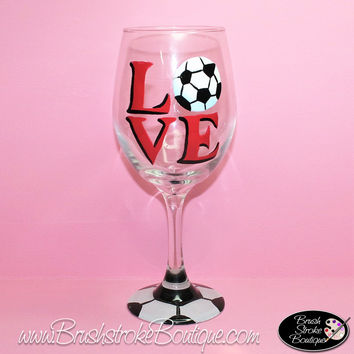 Hand Painted Wine Glass - Love Soccer - Original Designs by Cathy Kraemer