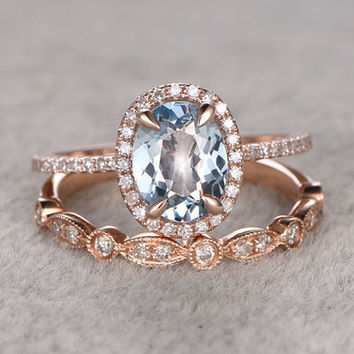 2pcs Aquamarine Bridal Ring Set Diamond Wedding Band Rose Gold Art Deco Thin Stacking Matching 14k/18k