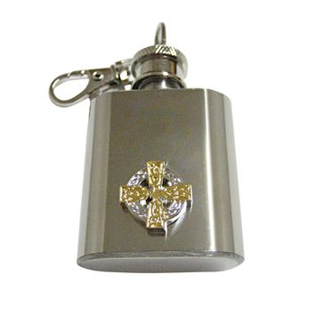 Gold and Silver Toned Celtic Cross 1 Oz. Stainless Steel Key Chain Flask